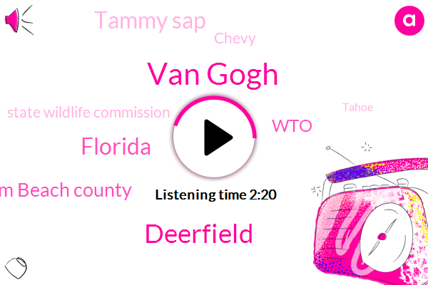 Van Gogh,Deerfield,Florida,Palm Beach County,WTO,Tammy Sap,Chevy,State Wildlife Commission,Tahoe,Ricky Bowl,Newstalk,Mount Dora,Dolphins,Patrick,Twenty Fifth,Eight Fifty W,Eight Years