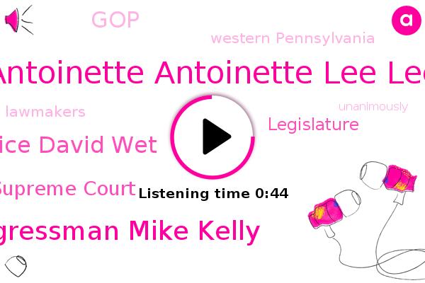 Antoinette Antoinette Lee Lee,Pennsylvania Supreme Court,Congressman Mike Kelly,Western Pennsylvania,Justice David Wet,Legislature,GOP