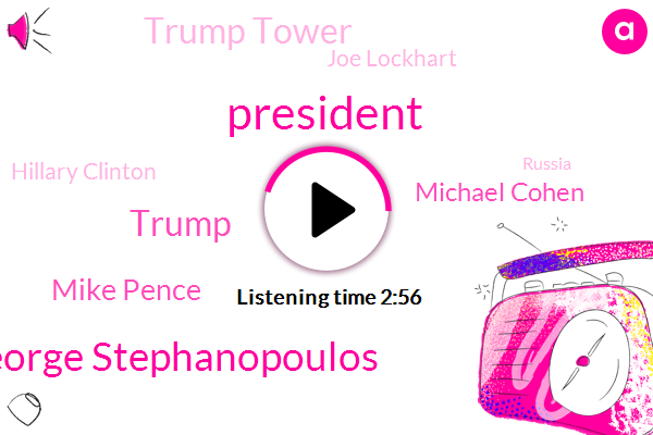 President Trump,George Stephanopoulos,Mike Pence,Donald Trump,Michael Cohen,Trump Tower,Joe Lockhart,Hillary Clinton,Russia,White House,United States