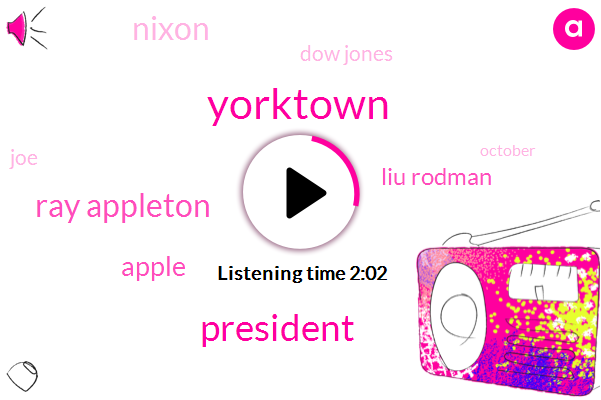 Yorktown,President Trump,Ray Appleton,Apple,Liu Rodman,Nixon,Dow Jones,JOE