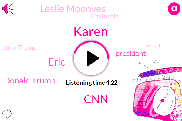Karen,CNN,Eric,Donald Trump,President Trump,Leslie Moonves,California,John Trump,Assault,United Nation,CEO,CBS,Lanka,Jim Acosta,AMA,Press Secretary,Sanders,Mike Allen,White House