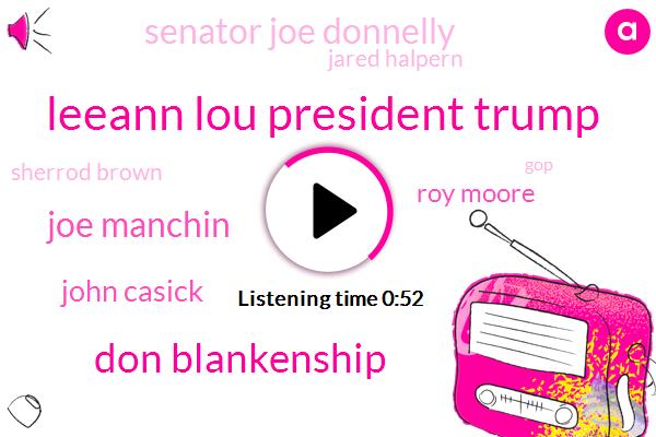 West Virginia,Senator Joe Manchin,Roy Moore,Governor John Casick,Hawaii,Leeann Lou,President Trump,GOP,Don Blankenship,Alabama,Ohio,Senate,Sherrod Brown,Indiana,Senator Joe Donnelly Fox,Jared Halpern