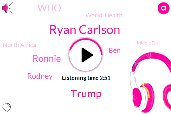 Ryan Carlson,Ronnie,WHO,Southeast Asia,Uganda,Middle East,Nick Miles,Ryan Constan,Dr Bull,Official,Donald Trump,BEN,Rodney,Parliament,Britain,North Africa,UK,Seventy Five Minutes,Forty Seven Minutes,Six Percent