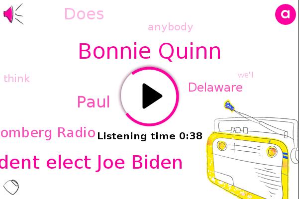 Bonnie Quinn,Bloomberg Radio,President Elect Joe Biden,Bloomberg,Paul,Delaware