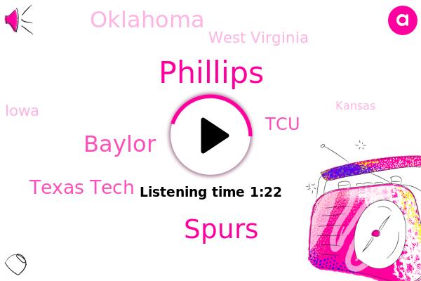 Baylor,Spurs,Texas Tech,Oklahoma,West Virginia,Iowa,Kansas,TCU,Texas,Phillips