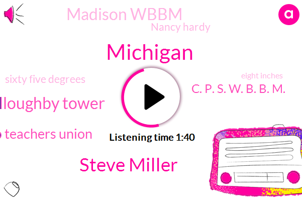 Michigan,Steve Miller,Willoughby Tower,Chicago Teachers Union,C. P. S. W. B. B. M.,Madison Wbbm,Nancy Hardy,Sixty Five Degrees,Eight Inches,Three Inches