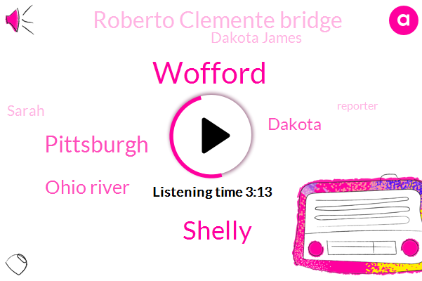 Wofford,Shelly,Pittsburgh,Ohio River,Dakota,Roberto Clemente Bridge,Dakota James,Sarah,Reporter,Officer,DAN,Six Two Thousand Seventeen Forty Days,Thirty Feet,Nine Weeks