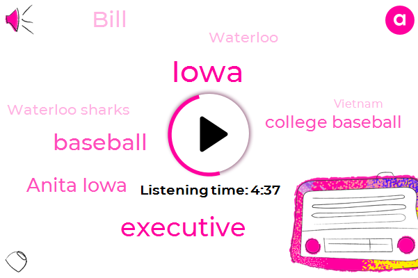 Executive,Iowa,Baseball,Anita Iowa,College Baseball,Bill,Waterloo,Waterloo Sharks,Vietnam,Washington,FOX,Nichols,Muscatine,Apple,Marlins,Navy,United States,Muskie,Two Years