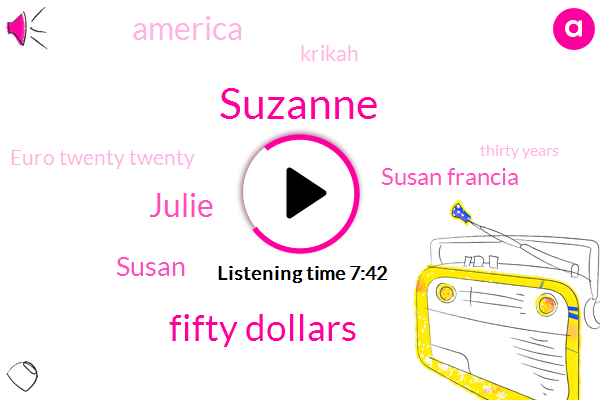 Suzanne,Fifty Dollars,Julie,Susan,Susan Francia,America,Krikah,Euro Twenty Twenty,Thirty Years,Two Women,Correo,Today,Two And A Half,About Twelve Hundred Dollars,Pablo,First Part,Foudy,Olympic,One Particular Family,Bella
