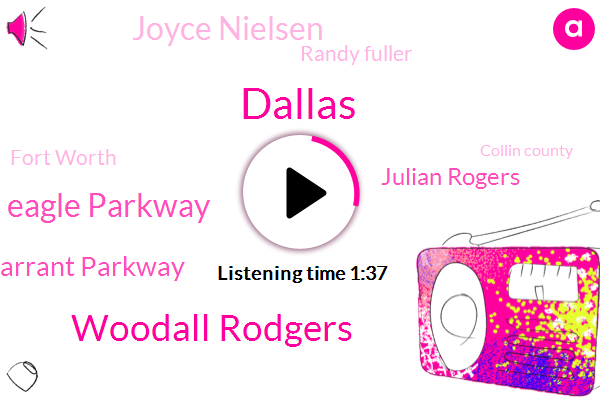 Dallas,Woodall Rodgers,Eagle Parkway,Tarrant Parkway,Julian Rogers,Joyce Nielsen,Randy Fuller,Fort Worth,Collin County,James,Irving,Colorado,Thirty Five W