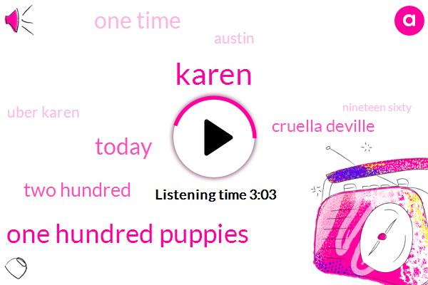 Karen,One Hundred Puppies,Today,Two Hundred,Cruella Deville,One Time,SIX,Austin,Uber Karen,Nineteen Sixty,Disney,Hundred One,ONE,Disney Bill