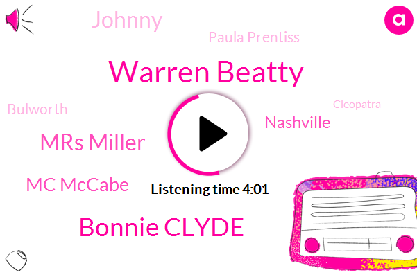 Warren Beatty,Bonnie Clyde,Mrs Miller,Mc Mccabe,Nashville,Johnny,Paula Prentiss,Bulworth,Cleopatra,Phil,Tony,Arabia,Mike,Lawrence,Mccain