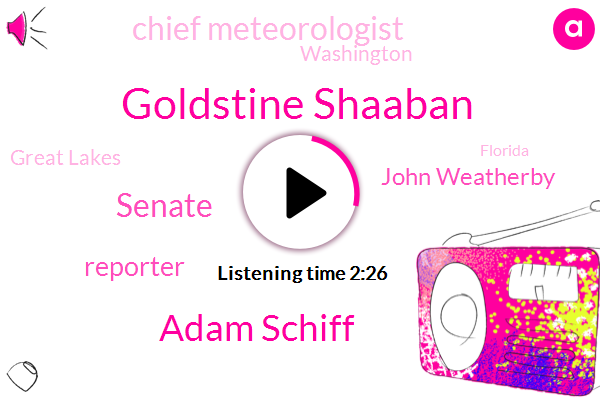 Goldstine Shaaban,Adam Schiff,Senate,Reporter,John Weatherby,Chief Meteorologist,Washington,Great Lakes,Florida,Walter M. Sterling Club,Anna Alicia,Snow Lake,California,New Mexico,Montana,W. B. A. B.,Dallas,Chicago,Tennessee