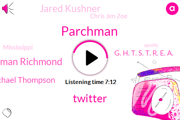 Parchman,Twitter,Parchman Richmond,Michael Thompson,G. H. T. S. T. R. E. A.,Jared Kushner,Chris Jen Zoe,Mississippi,Spotify,Google,Adam,Producer,P. A. R. C. H. M. A. N.,Willis,Sandra