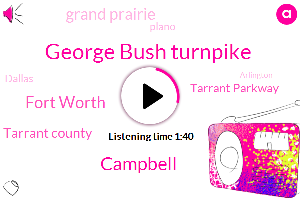 George Bush Turnpike,Campbell,Fort Worth,Tarrant County,Tarrant Parkway,Grand Prairie,Plano,Dallas,Arlington,RAY,Iraq,John,Thirty Five W,Fifteen Minute,Thirty Minute