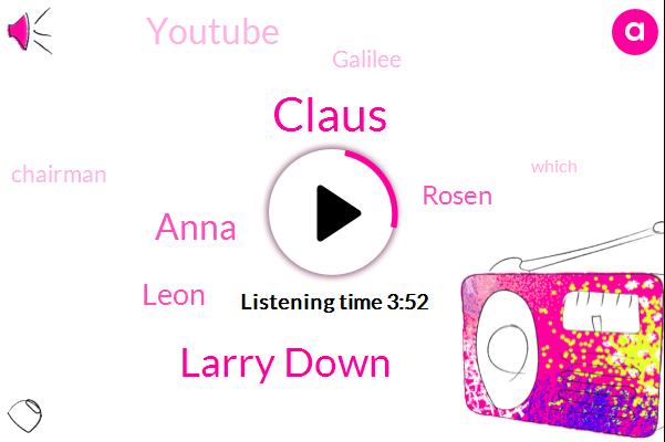 Claus,Larry Down,Youtube,Galilee,Anna,Chairman,Leon,Rosen