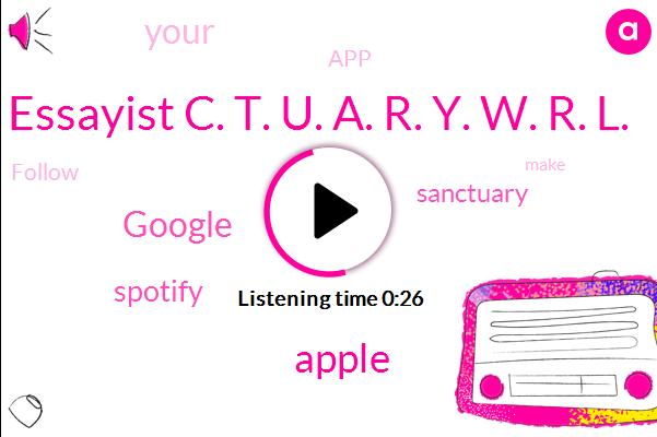 Essayist C. T. U. A. R. Y. W. R. L.,Apple,Google,Spotify
