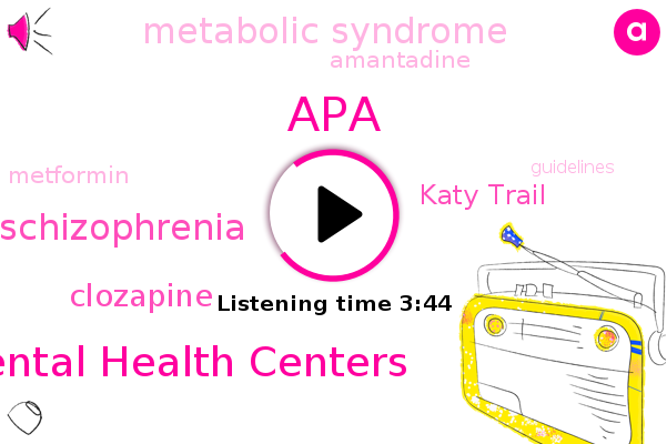 Clozapine,Schizophrenia,APA,Katy Trail,Metabolic Syndrome,Mental Health Centers,Amantadine,Metformin