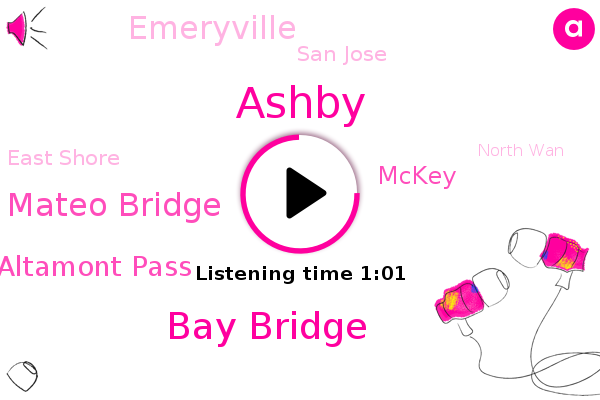 Bay Bridge,San Mateo Bridge,Emeryville,Ashby,Altamont Pass,East Shore,San Jose,Mckey,North Wan