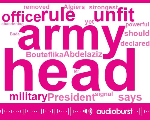 President Abdelaziz Bouteflika,President Trump,Hanan General Amagai,Algiers,General Saleh,Acting Head,Army,Mr. Buda,Algeria,Taha,Ben Sallah,Senate