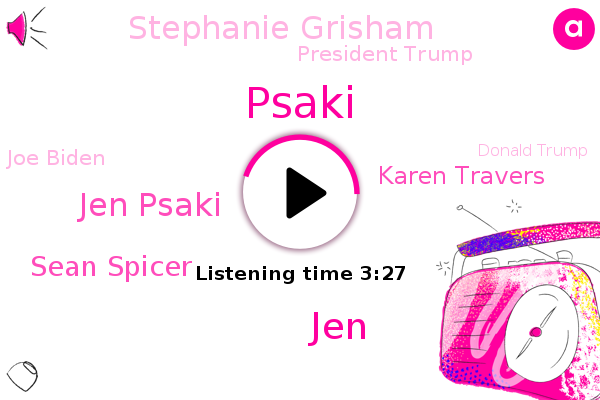 Jen Psaki,Sean Spicer,Trump Administration,Karen Travers,Stephanie Grisham,White House,President Trump,Joe Biden,Psaki,Obama Administration,ABC,Donald Trump,JEN,State Department,Senate,Oval Office,President Obama
