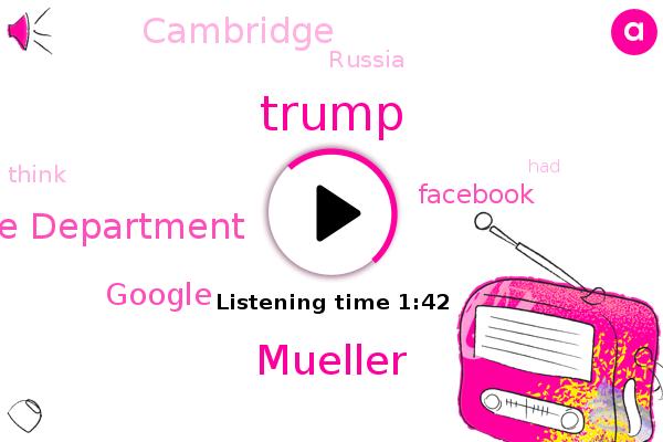 Justice Department,Google,Donald Trump,Facebook,Mueller,Cambridge,Russia