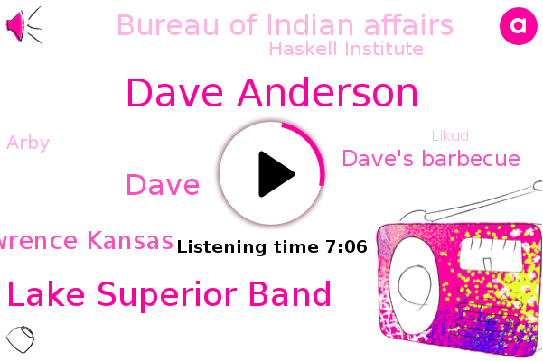 Oklahoma,Dave Anderson,Chicago,Dave's Barbecue,Likud Ray Lake Superior Band,Dave,Bureau Of Indian Affairs,Haskell Institute,Lawrence Kansas,Arby,Wisconsin,Boardman,Epsilon,Shawnee,San Bernardino,Ocean City,Likud,Domino,America