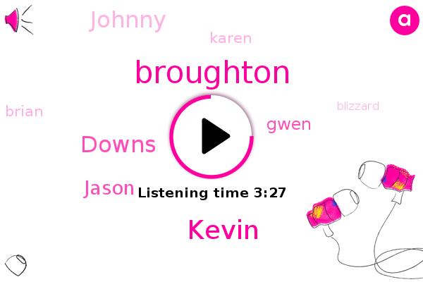 Broughton,Downs,Kevin,Jason,Gwen,Johnny,Blizzard,Karen,Spotify,Youtube,Apple,Facebook,Brian