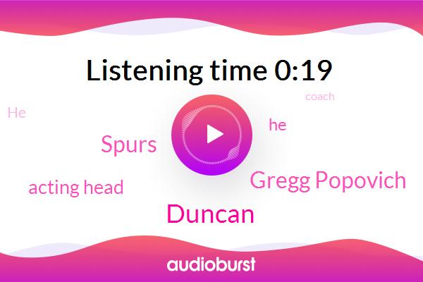 Gregg Popovich,Acting Head,Spurs,Duncan