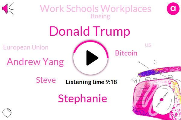 United States,Bitcoin,Work Schools Workplaces,Donald Trump,Stephanie,Boeing,Renton,European Union,Andrew Yang,Steve,Director,Manhattan