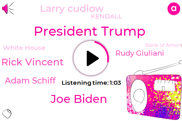 President Trump,United States,China,Joe Biden,Vice President,Ukraine,Rick Vincent,White House,Adam Schiff,Economic Adviser,Rudy Giuliani,Larry Cudlow,Bank Of America,ABC,Chairman,Kendall,Japan,FOX,Twenty Five Percent