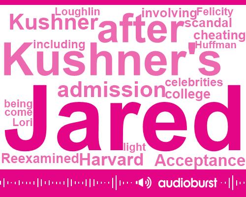 Charles Kushner,Jared,Harvard,Felicity Huffman,Ivy League School,Daniel Goldin,Lori Loughlin,President Trump,New Jersey,Editor,Million Dollar
