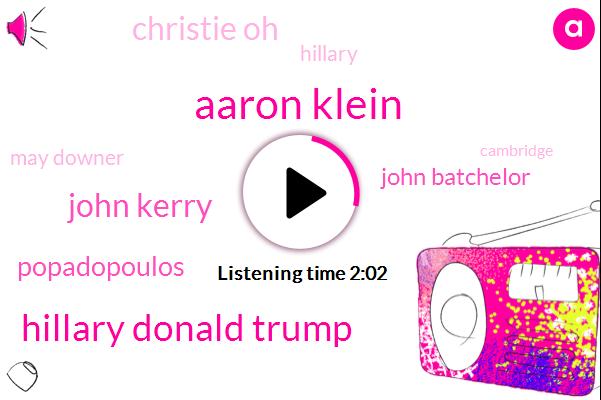 FBI,John Kerry,Hillary Donald Trump,Special Counsel,Trump Tower,Popadopoulos,Cambridge,John Batchelor,Aaron Klein,Benghazi,United States,Russia,DNC,Christie,One Hand