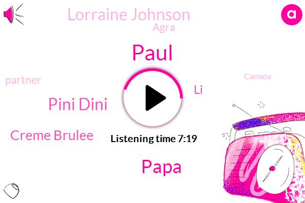 Papa,Agra,Partner,Canada,Pini Dini,Paul,Tennessee,Creme Brulee,America,LI,Lorraine Johnson