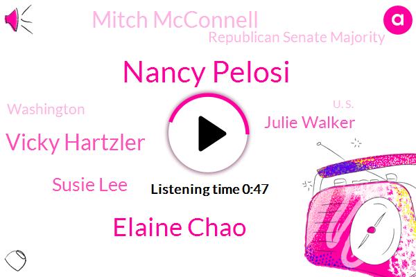 Nancy Pelosi,Elaine Chao,Vicky Hartzler,Susie Lee,Julie Walker,Washington,U. S.,California,Secretary,Republican Senate Majority,Mitch Mcconnell,Representative