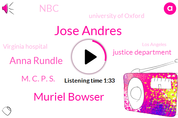 Justice Department,Los Angeles,Illinois,Rundle,Maryland,Jose Andres,NBC,Virginia,Muriel Bowser,University Of Oxford,Anna Rundle,Montgomery County,Founder,M. C. P. S.,Virginia Hospital