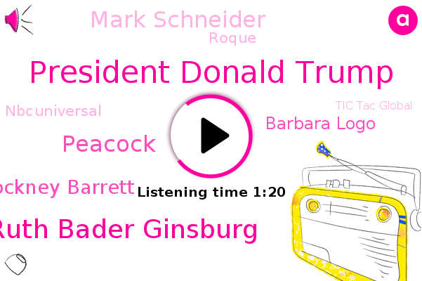 President Donald Trump,Justice Ruth Bader Ginsburg,Tic Tac Global,White House,Amul Thapar,Supreme Court,Tic Tac,Peacock,Amy Cockney Barrett,Nestle,Barbara Logo,President Trump,Mark Schneider,NBC,Chinese Government,North Carolina,CEO,Roque,Nbcuniversal