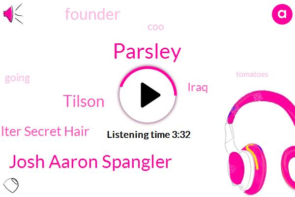 Parsley,Josh Aaron Spangler,Iraq,Soda Walter Secret Hair,Tilson,Founder,COO