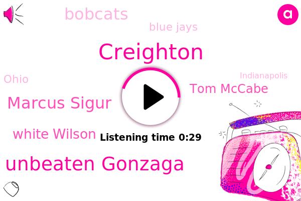 Blue Jays,Bobcats,Creighton,Unbeaten Gonzaga,Marcus Sigur,White Wilson,Tom Mccabe,Ohio,Indianapolis