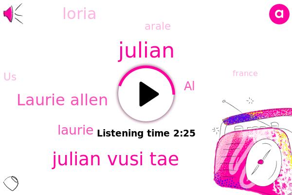 Arale,Julian Vusi Tae,Julian,Laurie Allen,France,Laurie,AL,United States,New York,Loria