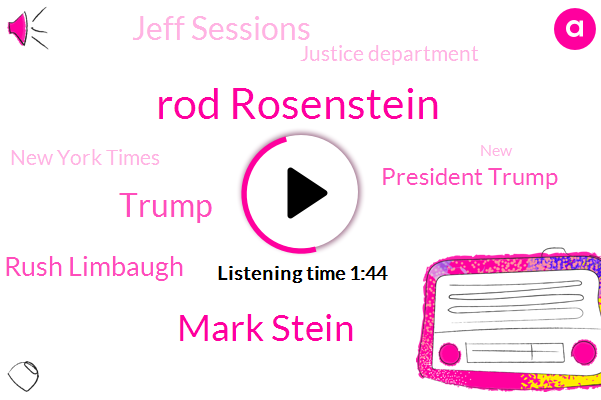 President Trump,The New York Times,Rod Rosenstein,Vice President,Rush Limbaugh,Donald Trump,Mark Stein,Jeff Sessions,Justice Department,Attorney,Twenty Fifth,Forty Five Minutes