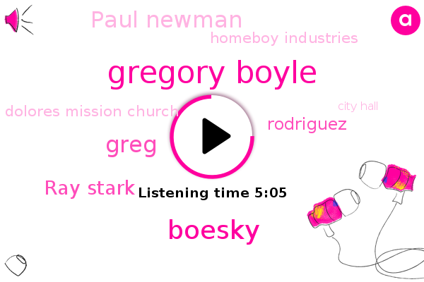 Homeboy Industries,Gregory Boyle,Dolores Mission Church,Boesky,NPR,Greg,Los Angeles,Paris,Ray Stark,City Hall,Mass,California,Rodriguez,Paul Newman
