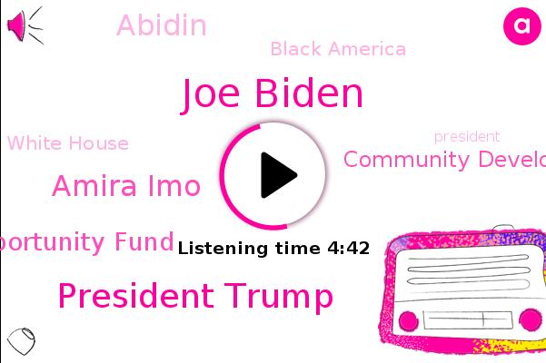 Joe Biden,President Trump,Small Business Opportunity Fund,Community Development Financial Institutions,Vice President,Amira Imo,Abidin,Reporter,Black America,White House
