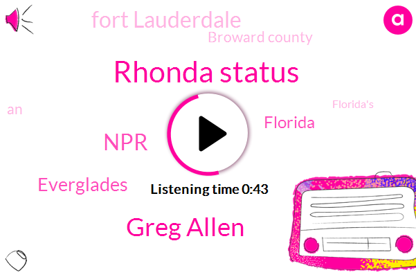 Florida,Everglades,Fort Lauderdale,Broward County,Rhonda Status,Greg Allen,NPR