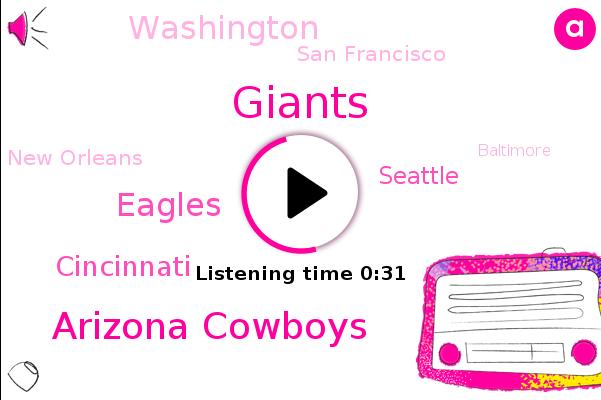 Giants,Cincinnati,Arizona Cowboys,Washington,San Francisco,Green Bay,New Orleans,Eagles,Baltimore,Pittsburgh,Seattle,Cleveland