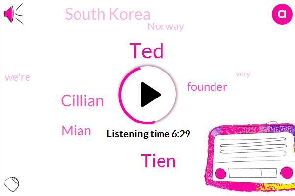 TED,Founder,Tien,South Korea,Cillian,Mian,Norway