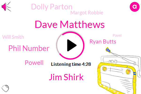 Dave Matthews,Jim Shirk,Donut Swale,Phil Number,Powell,Ryan Butts,Dolly Parton,Margot Robbie,Breck Fast Club,Canada,Youtube,Will Smith,Scientist,MTV,Pavel