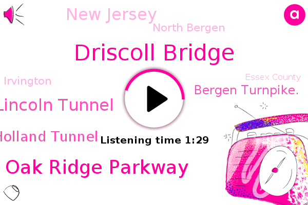 Driscoll Bridge,New Jersey,Oak Ridge Parkway,North Bergen,Toms River,Lincoln Tunnel,Irvington,Essex County,Helix Holland Tunnel,Morris Township,Bergen Turnpike.