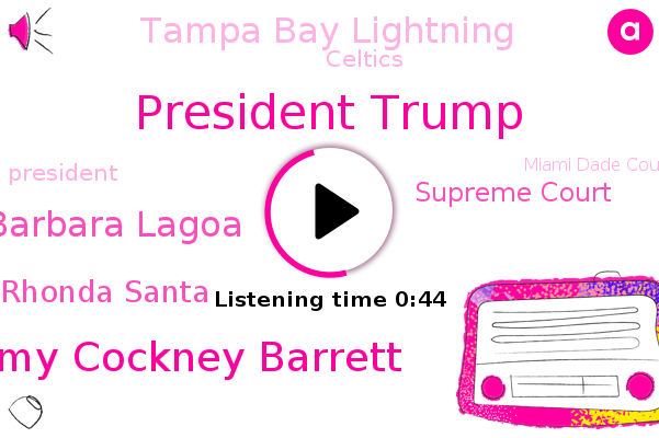 President Trump,Amy Cockney Barrett,Miami Dade County,Miami,Barbara Lagoa,Supreme Court,Tampa Bay Lightning,Palm Beach County,Rhonda Santa,Celtics,Florida