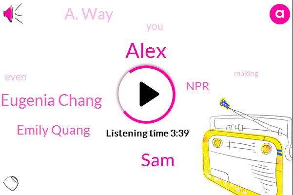 Alex,SAM,Eugenia Chang,A. Way,Emily Quang,NPR